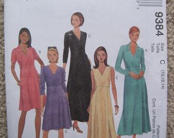 UNCUT Misses Dress - Size 10 to 14 - McCalls Pattern 9384