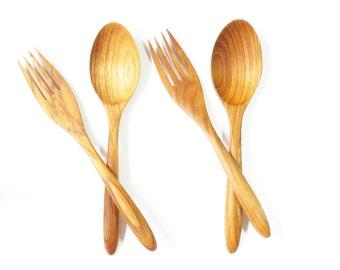 2 pairs. Teak Wood Flatware Spoon & Fork Set Wood Carved : M041