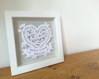 Personalised Wedding Papercut, Framed Wedding Keepsake, Custom Wedding Gift