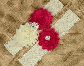 Pink Wedding Garter, Pink Bridal Garter, Ivory Lace Garter, Lace Garter Set, Pink Wedding Garter, Flower Garter Set, Bridal Garter, SCI1-R12