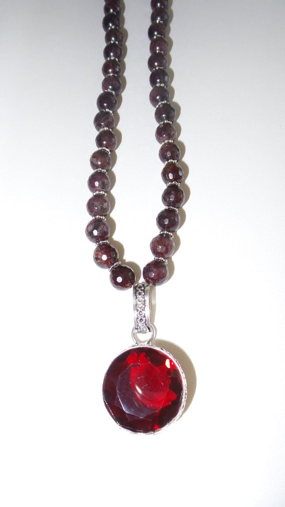 garnet necklace with faceted pendant