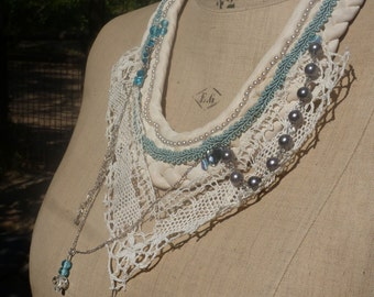 """Necklace """"The French princess' lace, beads, sequins, crystals, embroidery, BoutonRose, white, blue sky"""