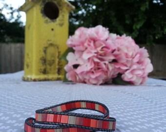 Beaded Leather Double Wrap Bracelet