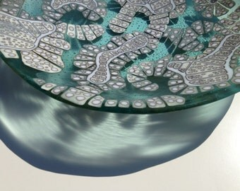 Large fused glass bowl inspired by cells in cream white and aqua blue