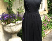Vintage Laura Ashley Black Embroidered Cotton Linen Pleated Occasion Wrap Over Dress UK 16 NEW Unworn