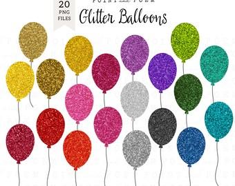 """Balloons clip art """"GLITTER BALLONS"""" /Instant Download/"""
