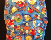 Adjustable Snap Reusable Pocket Cloth Diaper Cover with 2 free inserts Sesame Street Print
