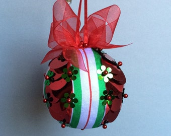 Red & Green Ribbon Trimmed Sequin Christmas Ornament