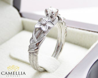 Branch Engagement Ring 14K White Gold Engagement Ring Diamond Branch Ring Vintage Leaf Branch Engagement Ring