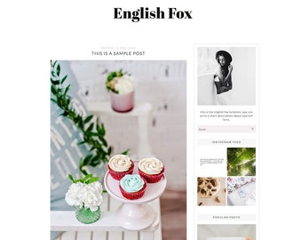 Premade Blogger Template - Simple Minimal Blog Design - Blog Theme - Blog Layout - Blogspot Template