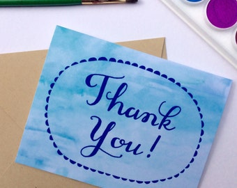 Watercolor Thank You with Scallops Card