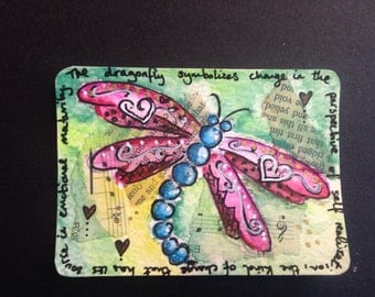 Original Painting ATC ACEO Art Card Artist Trading Card -DRAGONFLY - Made to Order