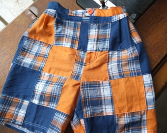 Orange and Blue Madras Plaid Shorts