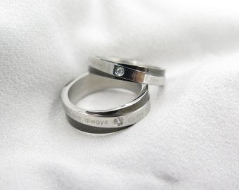 Matching Ring Set titanium infinity Wedding Band Ring 6mm 5mm Custom Engraved His and Hers promise rings Valentine's day ring Sale