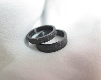 2 Rings-Free Engraving black ring set, Wedding Bands Couple Rings, his and hers promise ring sets , wedding rings, valentine's gift