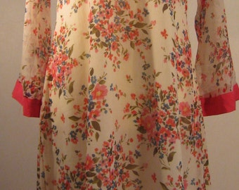 Vintage chiffon floral dress, 1970's, of a lovely 'Indian' style with an asymmetrical hem, size 18