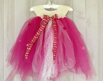 Pink Tulle Tutu Crochet Tulle Dress Princess Size 2T Tutu Dress