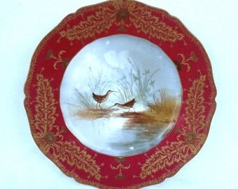 Porcelain Haviland Limoges Game Plate, Crakes, Transfer Printed with Hand Painted Gold Details
