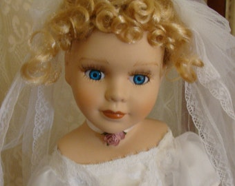 Blonde Bride with Roses 17 inch Porcelain Doll