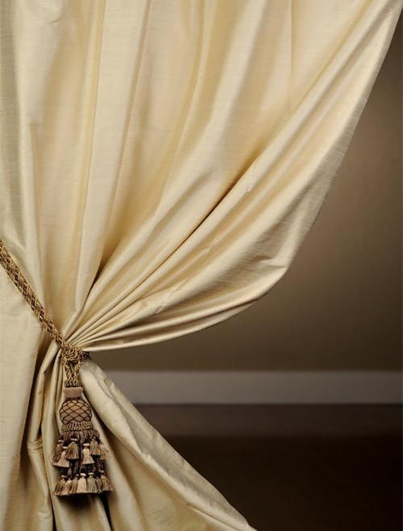 champagne silk curtain dupioni silk window by