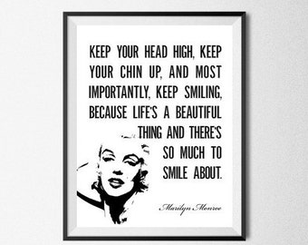 Marilyn Monroe Quote Print Digital Poster Inspirational Art Keep Your Head High... Marilyn Monroe Quote Art Fashion Poster