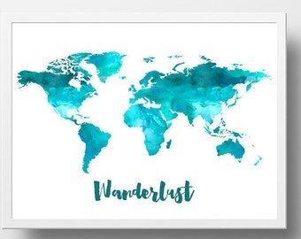 Teal world map etsy gumiabroncs Images