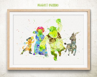 Disney Shrek Donkey Princess Fiona Puss in Boots Watercolor Art Print - Watercolor Painting - Home Deco - Wall Art - Christmas Gifts - 216