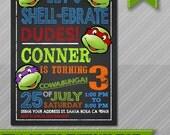 Ninja Turtles Invitation, TMNT Invite, Chalkboard, Ninja Turtle Party, Printable, TMNT Party, Leonardo, Michelangelo, Donatello, Raphael
