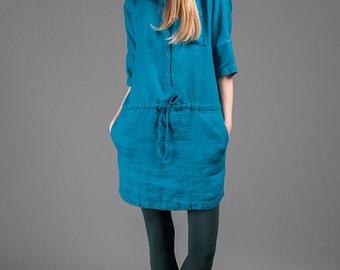 Sea Blue Linen Dress with a Hood, Skobeloff green short linen dress, 3/4 length sleeves, buttoms, boho style, linen clothes