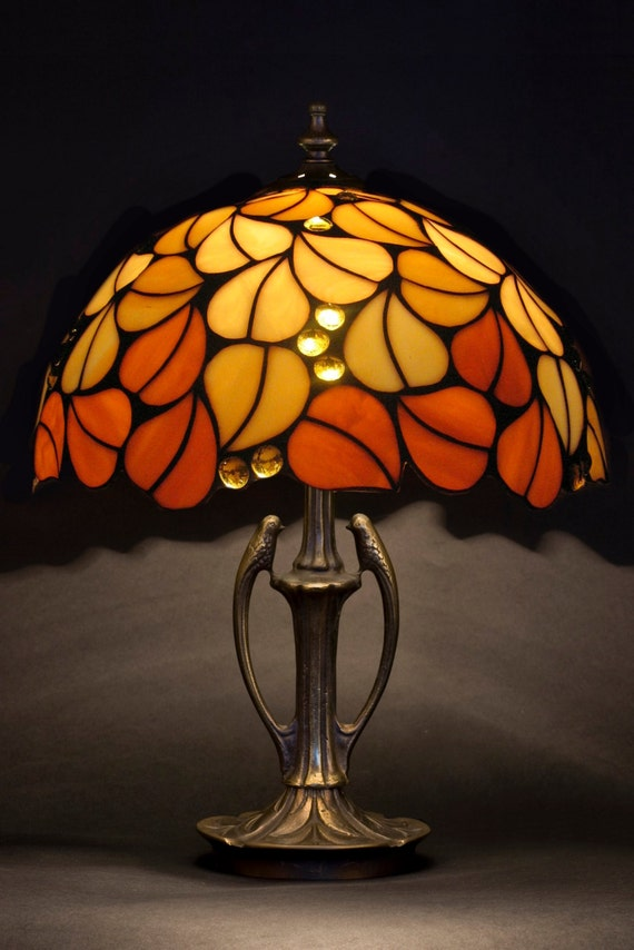 Tiffany Lamp, Amber Glass Lamp, Bedside Lamp, Table Lamp, Office Decor, Entryway Decor, Stained Glass Art, Desk Lamp, Reading Lamp