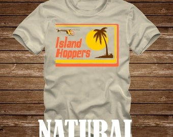 ISLAND HOPPERS - Magnum P.I. Tshirt - Adult sizes - fun 80s Tv ferrari helicopter hawaii Tom Selleck pi -427