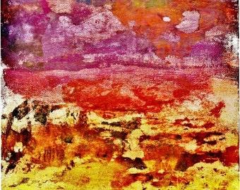 8x16 Fine Art Print of Original Mixed Media Collage 'Sunset'