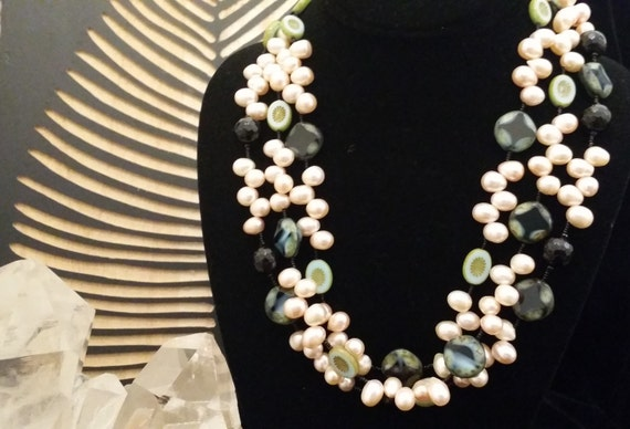 Beautiful! 3 Strand Freshwater Pearl, Onyx and Hand Cut Glass Bead Necklace