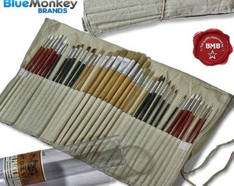 Art Owl Studio - Oil, Acrylic and Watercolor Paint Brushes, 36-piece - Free Versatile Canvas Pouch