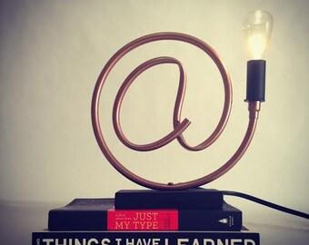 At Symbol Copper Pipe Lamp // Exposed Edison Bulb