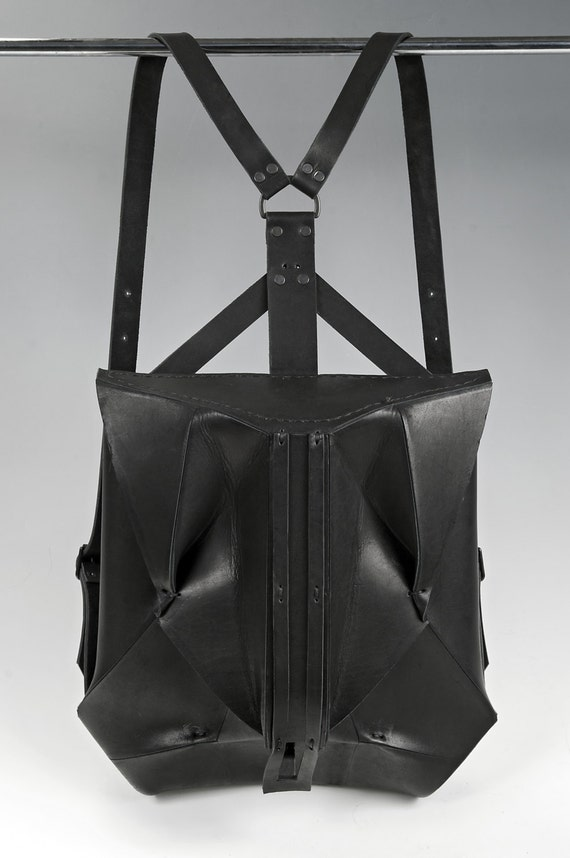Black Leather Backpack ORBIO VIA