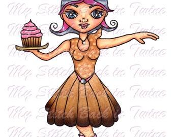 Digital stamp colouring image - Skater cupcake Charlee . jpeg / png