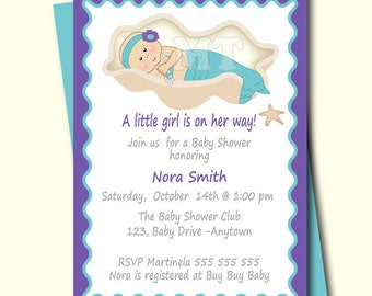 little mermaid baby shower invitation etsy
