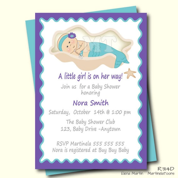 baby shower invitation mermaid baby shower invitation little mermaid