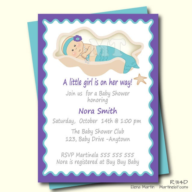 purple and teal baby shower invitation mermaid baby shower