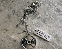 Believe in Yourself Necklace, Weight Loss Charm Necklace with 45lb Bumper Plate, Perfect for Beachbody Coaches and Personal Trainer Gifts