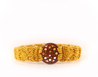 mustard bracelet - mustard yellow - crocheted bracelet - crochet jewelry - mustard seed jewelry - crochet bracelets - fabric bracelet