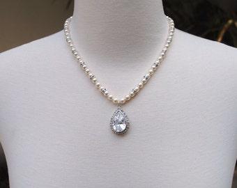 Wedding jewelry necklace, pearl bridal necklace, teardrop pendant wedding necklace, cubic zirconia cz, vintage bride: Natalia necklace