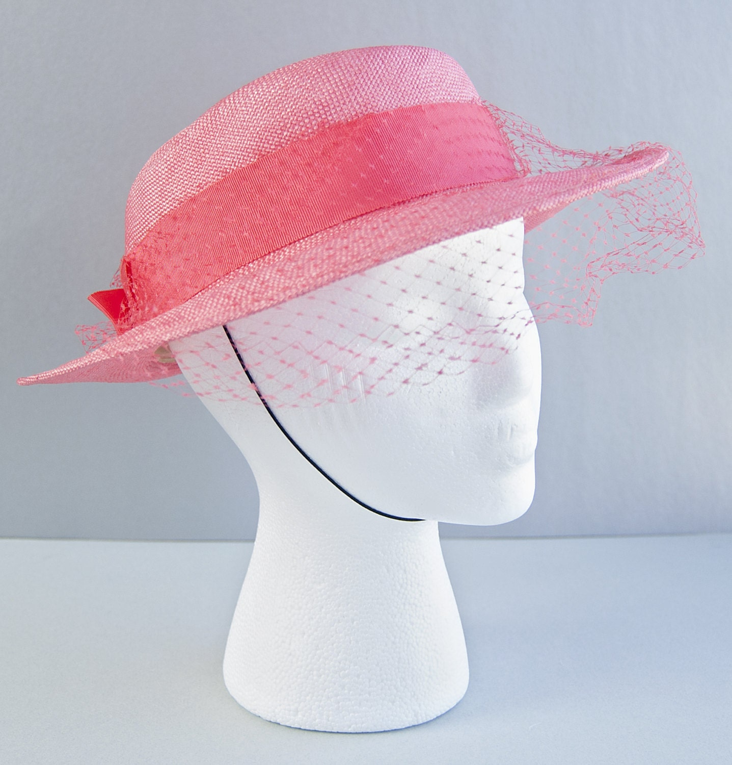 1960s Coral Pink Sailor Hat By Miss Bierner Sixties Boater