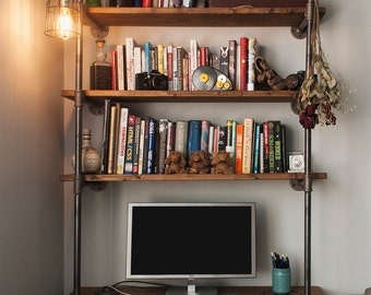 Industrial pipe desk with shelving unit and built-in lamp