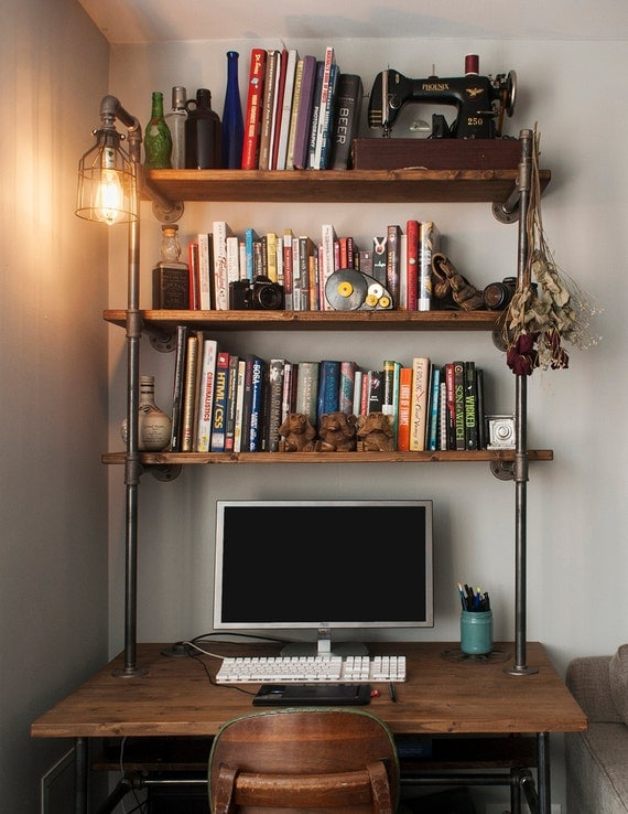 Industrial pipe desk with shelving unit and built in lamp