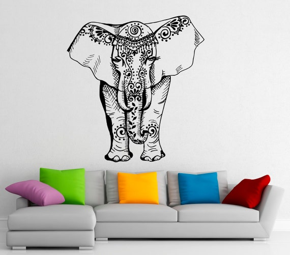Indian Elephant Wall Decal Vinyl Stickers Elephant Patterns - Elephant wall decals