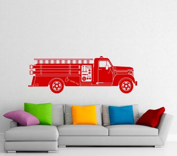 fire truck wall decal firemen vinyl sticker home interior wall fire truck wall sticker wall art com