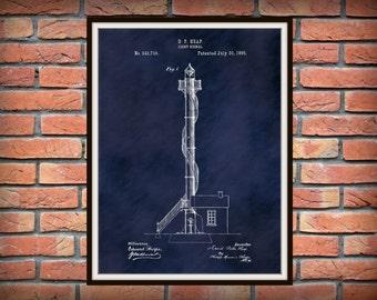 Patent 1895 Lighthouse - Signal Light Patent - Art Print  - Poster Print - Wall Art - Nautical -  Marine Art - Ships Beacon -