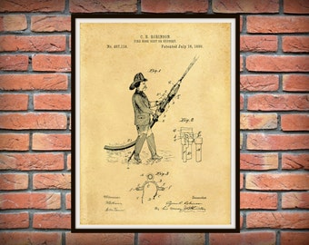 Patent 1889 Fire Hose Support or Rest Patent -  Art Print - Poster - Wall Art - Fire House Art  - Fire Equipment - Fire Fighter Art
